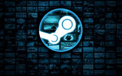 Steam logo blu