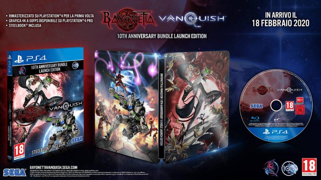 Contenuti dell'edizione fisica di Bayonetta & Vanquish 10th Anniversary Bundle.