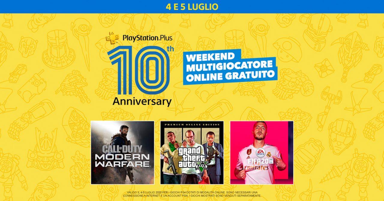 PlayStation Plus compie 10 anni, tema per PS4 gratis e free weekend del multiplayer online in regalo questa settimana