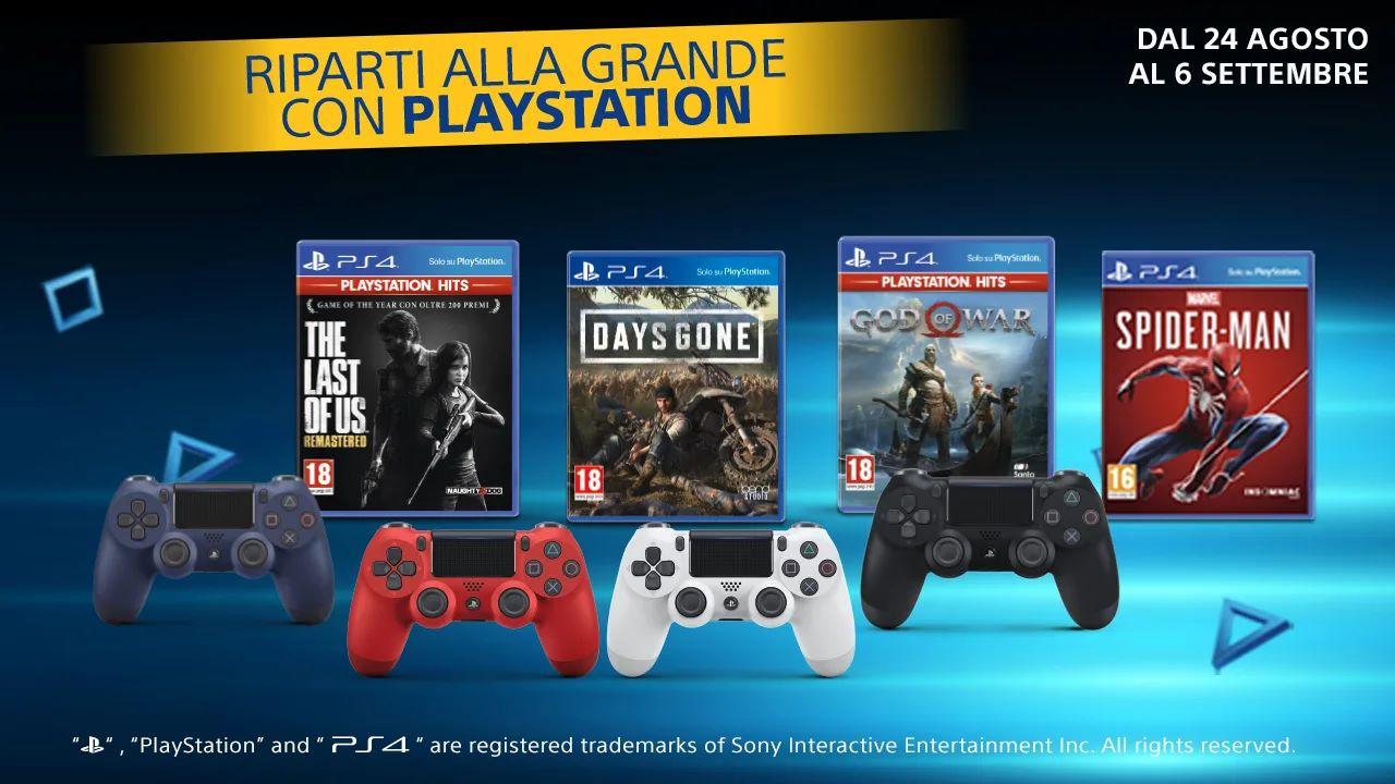 Riparti alla grande con PlayStation, la nuova promozione offre sconti su giochi PS4 e DualShock 4