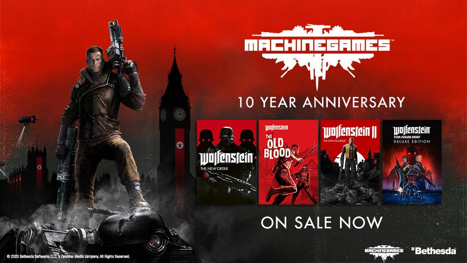 MachineGames compie 10 anni, sconti sulla serie di Wolfenstein su tutte le piattaforme